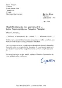 lettre de résiliation abonnement meetic affinity