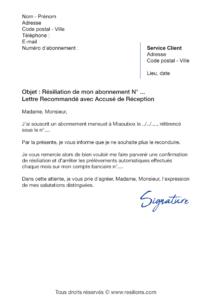 lettre de résiliation abonnement miaoubox
