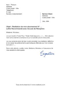 lettre de résiliation abonnement tinder