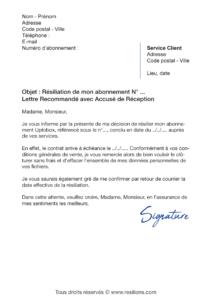 lettre de résiliation abonnement uptobox