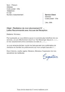 lettre de résiliation abonnement yes messenger