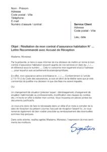 lettre de résiliation assurance habitation direct assurance