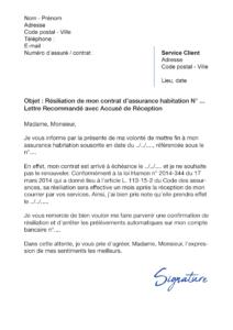 lettre de résiliation assurance habitation maaf