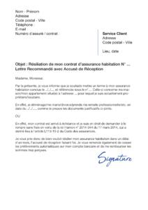 lettre de résiliation assurance habitation maif
