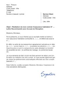 lettre de résiliation assurance habitation sogesur