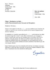 lettre de résiliation bail colocation