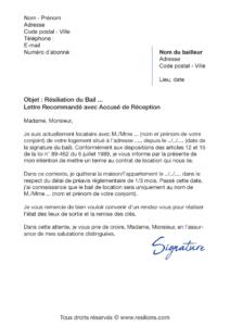 lettre de résiliation bail divorce / séparation